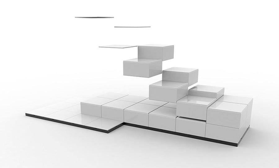 asezare si montare cuburi expo modulare